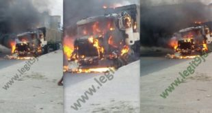VIDEO/PHOTOS: Truck Suddenly Went On Fire At PTI Junction In Warri