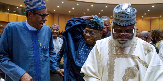 PHOTOS: Obasanjo with Buhari at the ongoing AU Summit in Addis Ababa